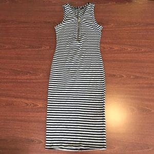 Striped Zip-Up Maxi Dress